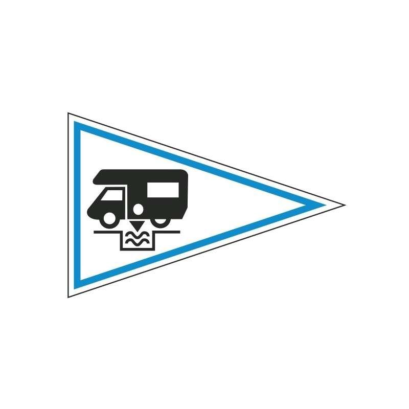 Flamme de camping (Drapeau triangulaire pour signaliser la possibilité de venir en Camping-car)