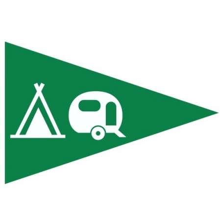 Flamme de camping (Drapeau triangulaire pour signaliser la possibilité de venir en tente ou en caravane)