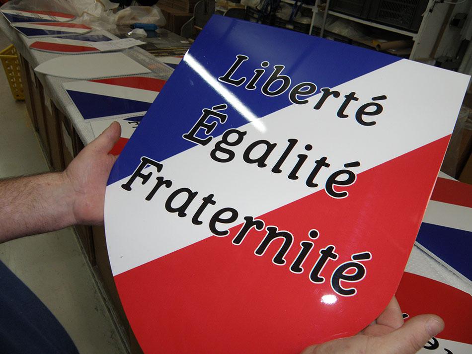 """Ecusson """"liberté égalité fraternité"""""""