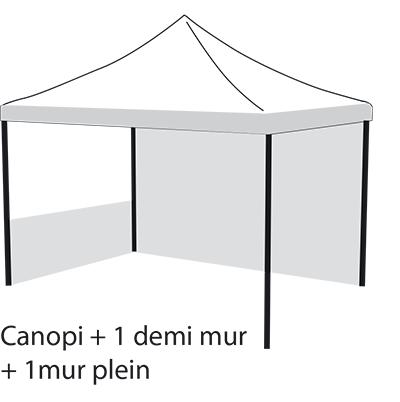 Canopi + 1 demi mur + 1mur plein